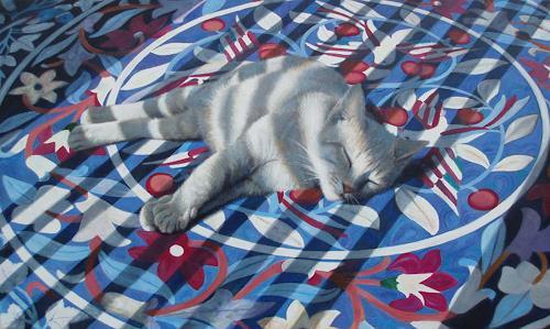 Neeharika Donau, Schlafende Katze, Tiere: Land, Dekoratives, Fotorealismus, Expressionismus