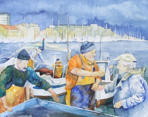 Frank Koebsch, Fischmarkt von Marseille, Menschen: Gruppe, Markt, Expressionismus