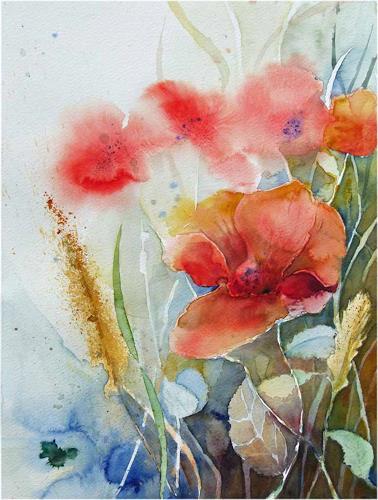 Frank Koebsch, Vor der letzten Ernte (c) ein Mohn Aquarell von FRank Koebsch, Ernte, Pflanzen: Blumen, Gegenwartskunst