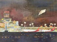 F. Koebsch, Letzte Landung in Tegel (c) Aquarell von Frank Koebsch