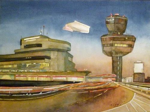 Frank Koebsch, Auf dem Weg zum letzten Flug am Abend (c) Aquarell von Frank Koebsch, Architektur, Diverse Bauten, Gegenwartskunst