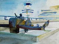 F. Koebsch, Wohin würden die Helden der Lüfte heute fliegen ? (c) Aquarell von Frank Koebsch