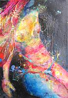 Elke-Henning-Akt-Erotik-Akt-Frau-Fantasie-Gegenwartskunst--Gegenwartskunst-