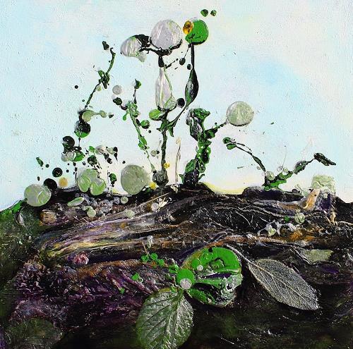 Elke Henning, Blätter in der Erde, Fantasie, Natur, Gegenwartskunst, Expressionismus