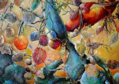 Elke Henning, Am Schöpfungsmorgen, Pflanzen: Bäume, Glauben, Neue Figurative Malerei, Abstrakter Expressionismus