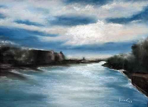 Uwe Zimmer, Die Spree von der Oberbaumbrücke während der Open Art, Landschaft: Sommer, Diverse Landschaften, Postimpressionismus