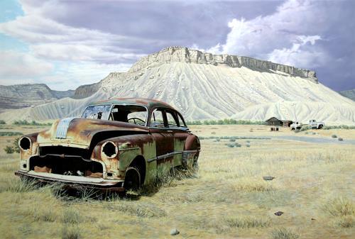 Manfred Hönig, The Witness, Landschaft: Berge, Verkehr: Auto, Hyperrealismus, Expressionismus