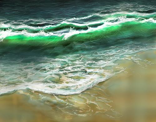 Sandra Robertz, Ocean, Natur: Wasser, Landschaft: See/Meer, Gegenwartskunst, Expressionismus
