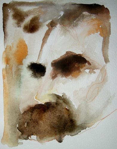 Albert Lascaux, Nietzsche auf Papier 01, Menschen: Gesichter, Menschen: Porträt, Gegenwartskunst