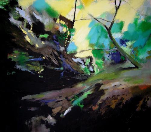 Albert Lascaux, Black Creek, Landschaft, Natur: Wald, Gegenwartskunst, Abstrakter Expressionismus