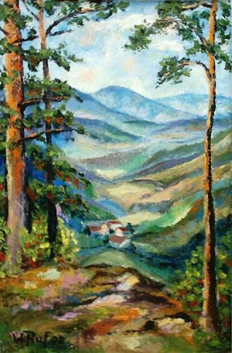 Willi Ruf, oberhalb Bergoeschingen, Landschaft: Berge, Impressionismus