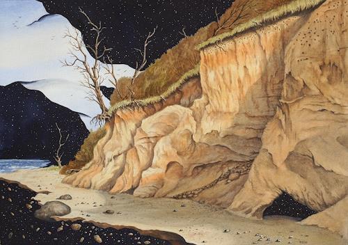 Joachim Lilie, Fernes Ufer, Fantasie, Landschaft: See/Meer, Postsurrealismus, Expressionismus