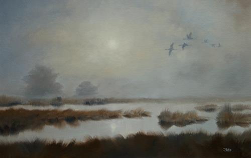 Joachim Lilie, Morgennebel, Landschaft: Ebene, Konkrete Kunst