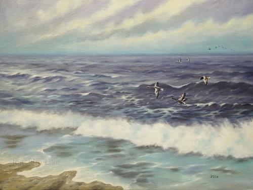 Joachim Lilie, Ostsee, Landschaft: See/Meer, Tiere: Luft, Realismus, Expressionismus
