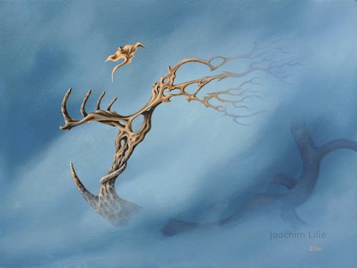 Joachim Lilie, Blauer Nebel, Fantasie, Diverse Pflanzen, Postsurrealismus, Expressionismus