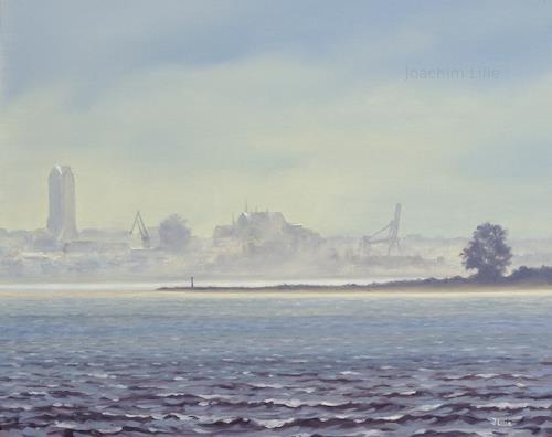 Joachim Lilie, Wismar im Nebel, Landschaft: See/Meer, Natur: Wasser, Realismus, Expressionismus