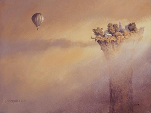 Joachim Lilie, Besuch, Landschaft, Fantasie, Gegenwartskunst