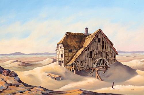Joachim Lilie, Wassermühle, Landschaft, Fantasie, Postsurrealismus, Expressionismus