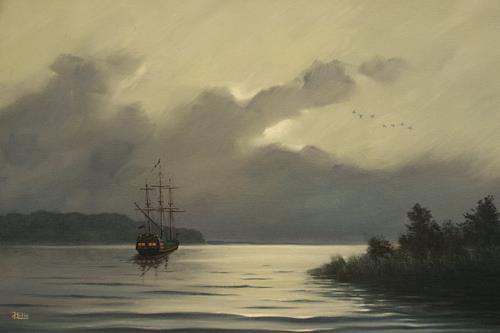 Joachim Lilie, Vor Anker, Landschaft: See/Meer, Konkrete Kunst