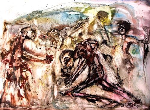 WERWIN, Meute sucht Urheber, Menschen, Gegenwartskunst, Abstrakter Expressionismus