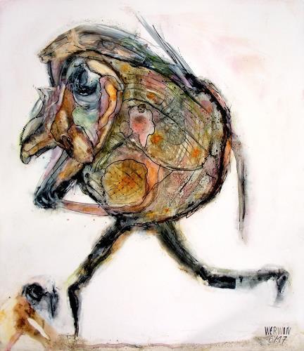 WERWIN, Der blöde Hund am Wegrand, Menschen, Gegenwartskunst, Abstrakter Expressionismus
