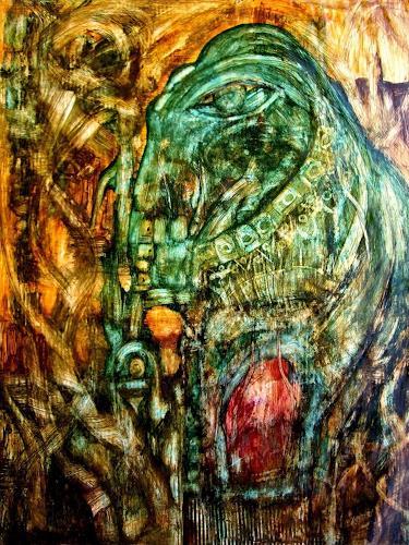WERWIN, Smaragd Elephant, Tiere: Land, Surrealismus, Abstrakter Expressionismus