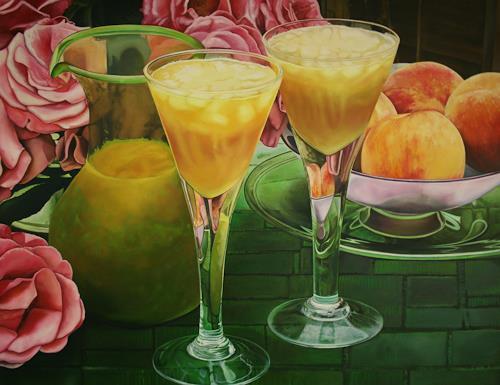 Renzo Valenti, Bicchieri con Pesche, Stilleben, Fotorealismus, Expressionismus
