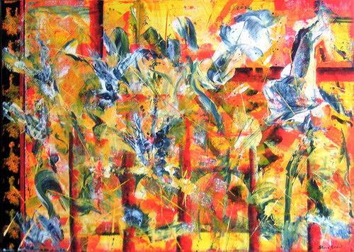 Steve Soon, crazy birds laugh, Abstraktes, Neo-Impressionismus
