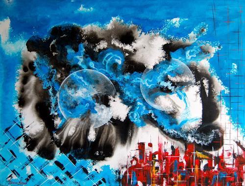 Steve Soon, blue power in red town, Abstraktes, Radikale Malerei