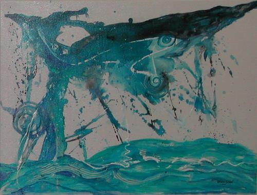 Steve Soon, jumping shark, Abstraktes, Action Painting