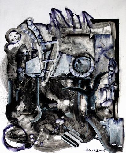 Steve Soon, black`n white-series: TWO, Abstraktes, Neo-Expressionismus, Abstrakter Expressionismus