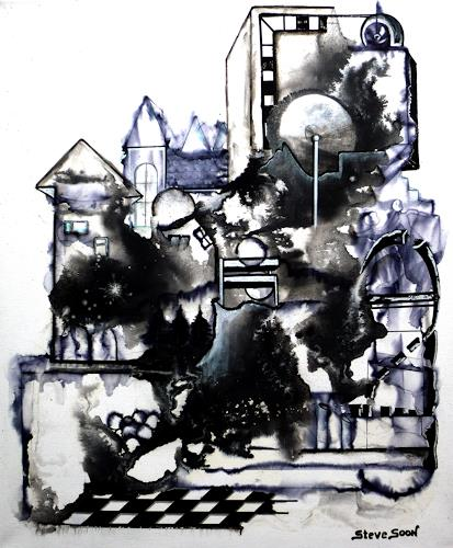Steve Soon, black`n white - series: ONE, Abstraktes, Bauten, Neo-Expressionismus, Abstrakter Expressionismus