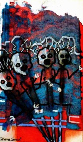 Steve Soon, im Chor, Skurril, Radikale Malerei, Abstrakter Expressionismus