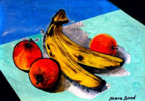 Steve Soon, Stillleben - Obst, Stilleben, Realismus, Abstrakter Expressionismus