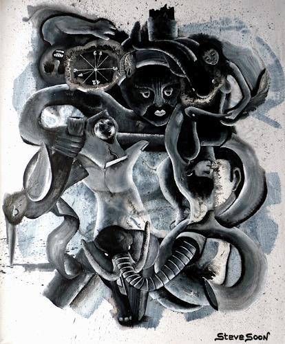Steve Soon, black`n white-series: THREE-THREE-THREE, Skurril, Postsurrealismus, Abstrakter Expressionismus