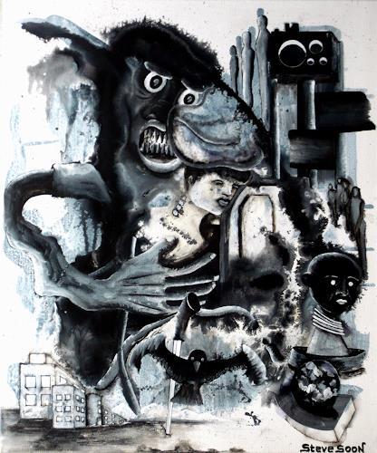 Steve Soon, black`n white-series: THREE-THREE, Skurril, Postsurrealismus, Abstrakter Expressionismus