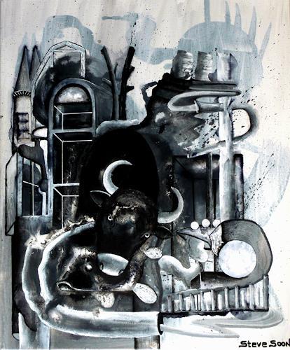 Steve Soon, black`n white-series: THREE, Abstraktes, Neo-Expressionismus