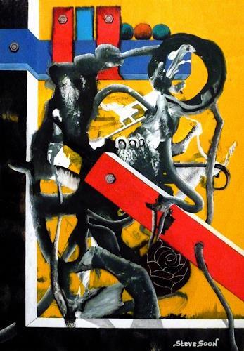 Steve Soon, redblackrose, Abstraktes, Neo-Expressionismus, Abstrakter Expressionismus