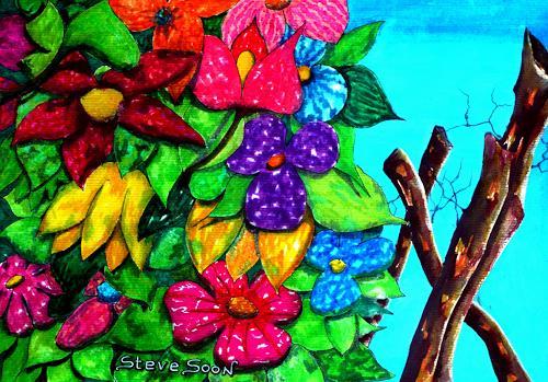 Steve Soon, bunte Mischung, Pflanzen: Blumen, Neo-Expressionismus
