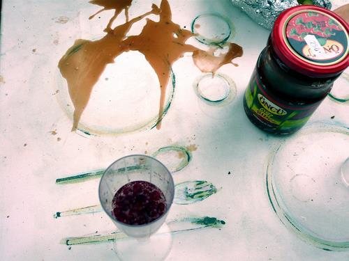 Steve Soon, brauner Fleck, Stilleben, Konkrete Kunst, Abstrakter Expressionismus