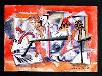 Steve-Soon-Menschen-Gruppe-Fantasie-Moderne-Abstrakte-Kunst-Radikale-Malerei
