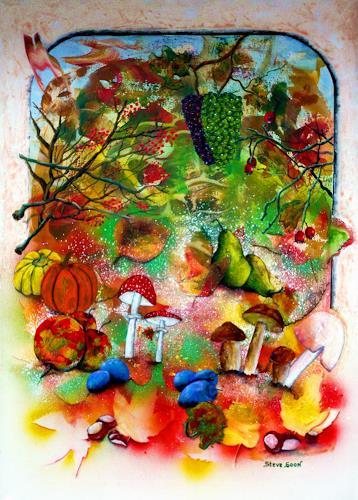 Steve Soon, Golden time, Diverse Pflanzen, Zeiten: Herbst, Naturalismus, Abstrakter Expressionismus