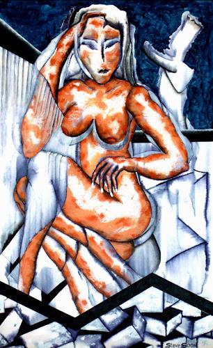 Steve Soon, Bonnie ohne Kleid, Akt/Erotik: Akt Frau, Neo-Expressionismus