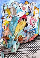 Steve-Soon-Menschen-Gruppe-Moderne-Abstrakte-Kunst-Action-Painting