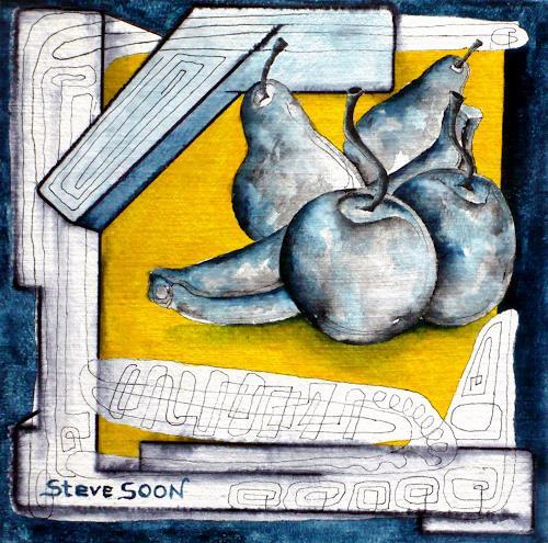 Steve Soon, Obst V, Stilleben, Pflanzen: Früchte, Neuzeit, Abstrakter Expressionismus