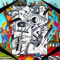 Steve-Soon-Menschen-Gruppe-Moderne-Abstrakte-Kunst-Art-Brut