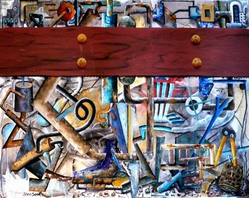 Steve Soon, Blick in die Werkstatt, Technik, Neo-Expressionismus, Abstrakter Expressionismus
