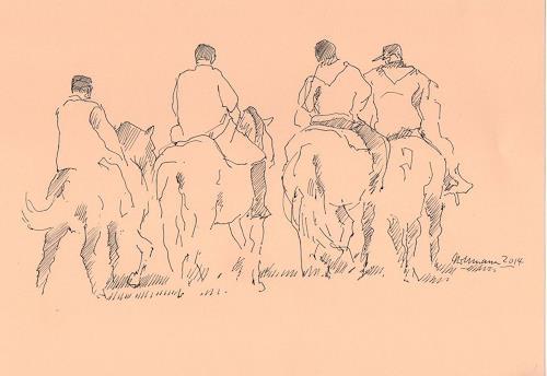 Ulrich Hollmann, Reitergruppe, Menschen: Gruppe, Tiere, Abstrakte Kunst