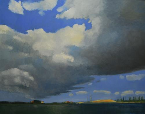 Ulrich Hollmann, Am Kanal, Landschaft: Ebene, Natur: Wasser, Gegenwartskunst, Expressionismus