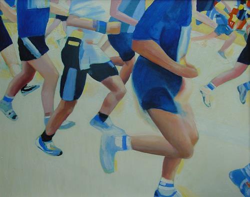 Ulrich Hollmann, Die blauen Läufer, Sport, Freizeit, Neo-Expressionismus, Abstrakter Expressionismus
